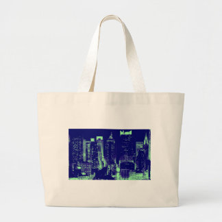 Blue New York City Large Tote Bag