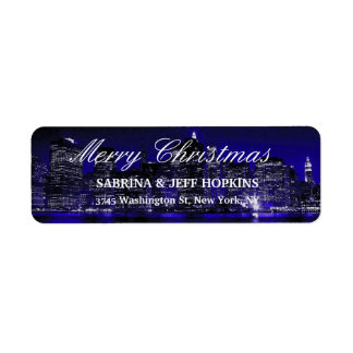 Blue New York City Merry Christmas Message Family Label