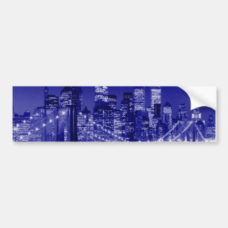 Blue New York City Night Bumper Sticker