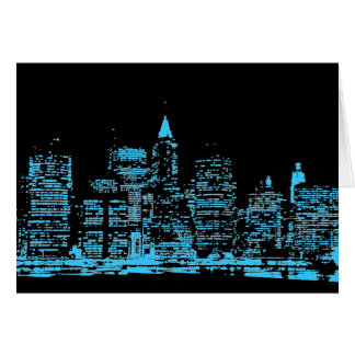 Blue New York City Night Cards