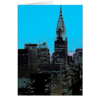 Blue New York City Night Greeting Cards