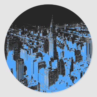 Blue New York City Night Classic Round Sticker