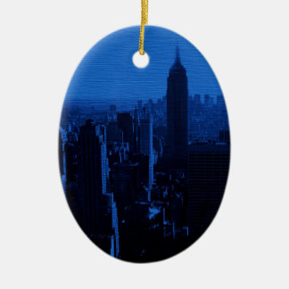 Blue New York City Night Double-Sided Oval Ceramic Christmas Ornament