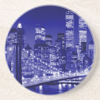 Blue New York City Night Drink Coaster