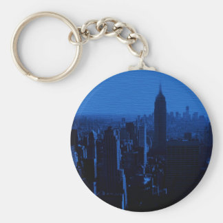Blue New York City Night Keychain