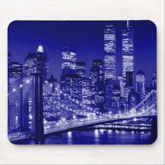 Blue New York City Night Mouse Pad