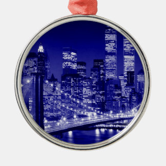 Blue New York City Night Christmas Ornaments