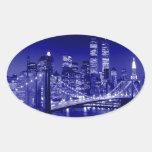 Blue New York City Night Oval Sticker