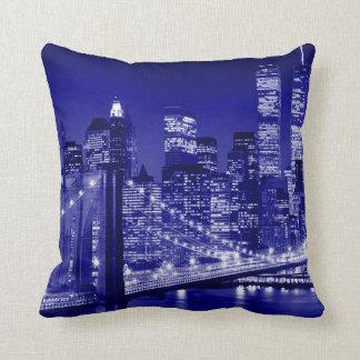 Blue New York City Night Pillow