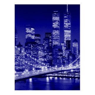 Blue New York City Night Postcard