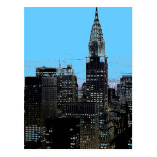 Blue New York City Night Postcard