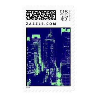 Blue New York City Night Stamps