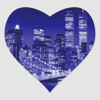 Blue New York City Night Sticker