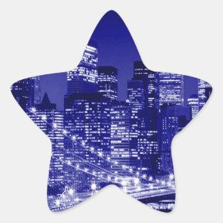 Blue New York City Night Stickers