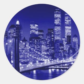 Blue New York City Night Round Sticker
