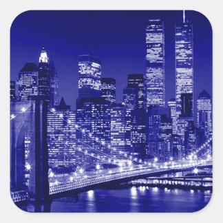 Blue New York City Night Square Stickers
