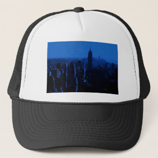 Blue New York City Night Trucker Hat