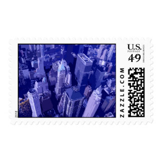 Blue New York City Postage Stamps