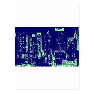 Blue New York City Postcard