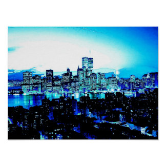 Blue New York City Poster Print