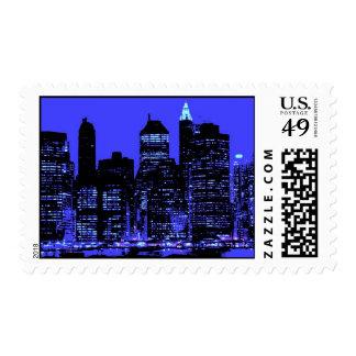 Blue New York City Silhouette Postage