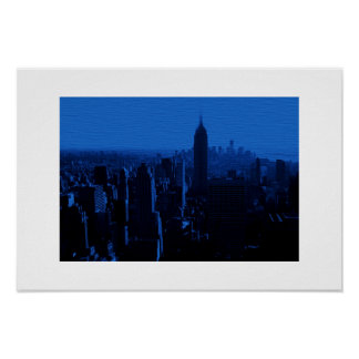 Blue New York City White Border Poster