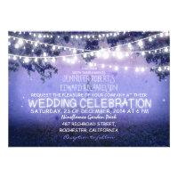 blue night & garden lights rustic wedding personalized invitation