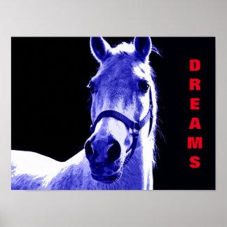 Blue Night Horse Dreams Motivational Artwork Poster