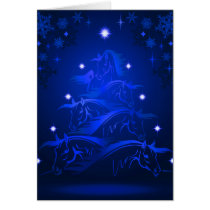 Blue Night Horses Christmas Tree Card