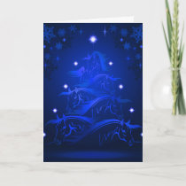 Blue Night Horses Christmas Tree Holiday Card