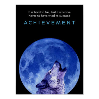 Blue Night Howling Wolf at Fullmoon Poster