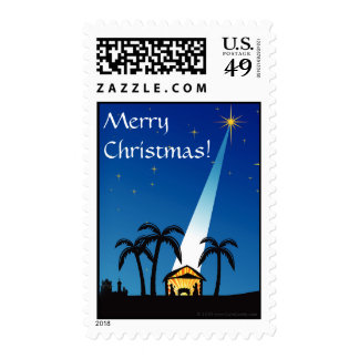 Blue Night Nativity Scene, Merry Christmas Holiday Postage