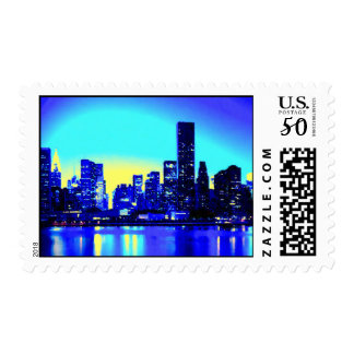 Blue Night & New York City Postage Stamps