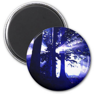 Blue Night Trees 2 Inch Round Magnet