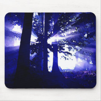 Blue Night Trees Mouse Pad