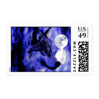 Blue Night, Wolf & Full Moon Postage Stamps