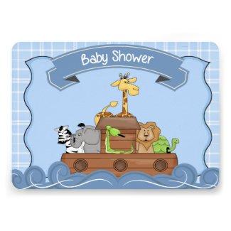 Blue Noah's Ark Baby Shower Invitation Custom Invites
