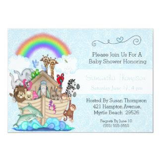 Blue Noahu0026#39;s Ark Baby Shower Invitation