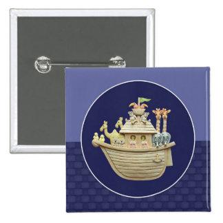 Blue Noah's Ark 2 Inch Square Button