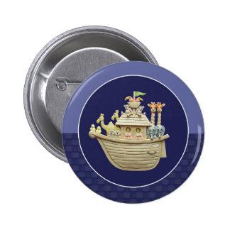Blue Noah's Ark 2 Inch Round Button