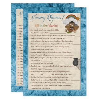 Blue Noah's Ark Nursery Rhyme Baby Shower Games Card