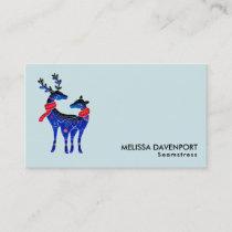 Blue Nordic Christmas Reindeer Pair Business Card