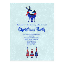 Blue Nordic Christmas Reindeer Pair Invitation Postcard