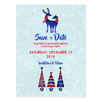 Blue Nordic Christmas Reindeer Pair Save The Date Postcard