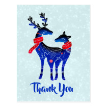 Blue Nordic Christmas Reindeer Pair Thank You Postcard