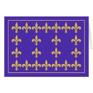 Blue Note Card with Gold Color Fleur-de-Lis