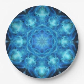 Blue Nova Mandala Paper Plate