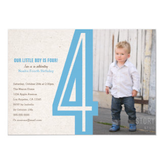 Blue Number Four Birthday Party Invitation