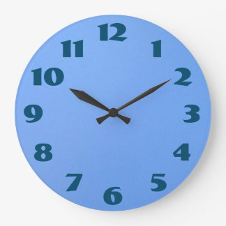 Blue Numbers Blue Background Large Clock