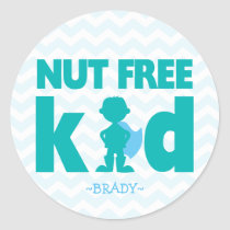 Blue Nut Free Kid Superhero Boy Allergy Stickers